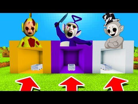 Minecraft PE : DO NOT CHOOSE THE WRONG MINECART! (Laa-Laa, Tinky Winky & White Slendytubby)