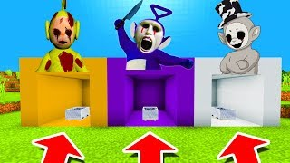 Minecraft PE : DO NOT CHOOSE THE WRONG MINECART! (Laa-Laa, Tinky Winky & White Slendytubby)