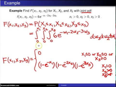 Multivariate distributions:  joint cumulative distribution functions -- Example 1