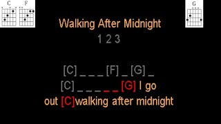 Walkin' After Midnight by Patsy Cline guitar play along