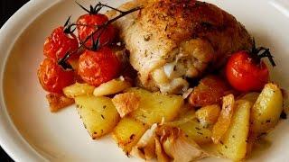 Картошка с курицей, запеченная в духовке. Курица с картошкой в духовке.