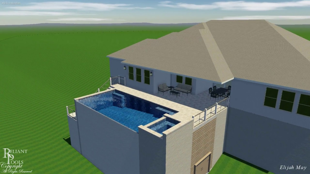 2 Story Elevated Swimming Pool With Pan Decks In Travertine