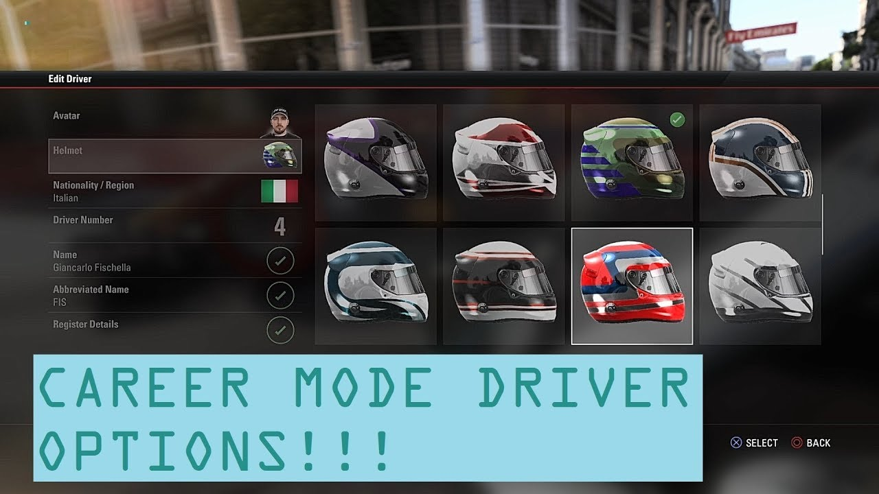 ALL F1 2017 CAREER MODE DRIVER OPTIONS! | NATIONALITY, HELMETS, AVATARS AND  MORE!