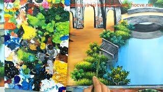 Cách vẽ bụi cây cỏ, chích đoạn trong khóa học vẽ tranh tường tại xưởng.