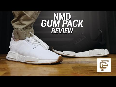 nmd r1 black gum on feet