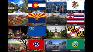50 States of America ( USA ) - All Flags with landmark or landscape images
