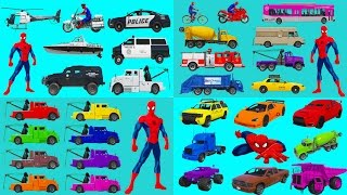 Learn Colors & Vehicles Name with Spiderman l Car & truck Compilation l Nursery Rhymes Kids Songs