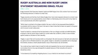 Israel Folau Fired! Rugby Australia Terminate His Contract Over Controversial Social Media Comments
