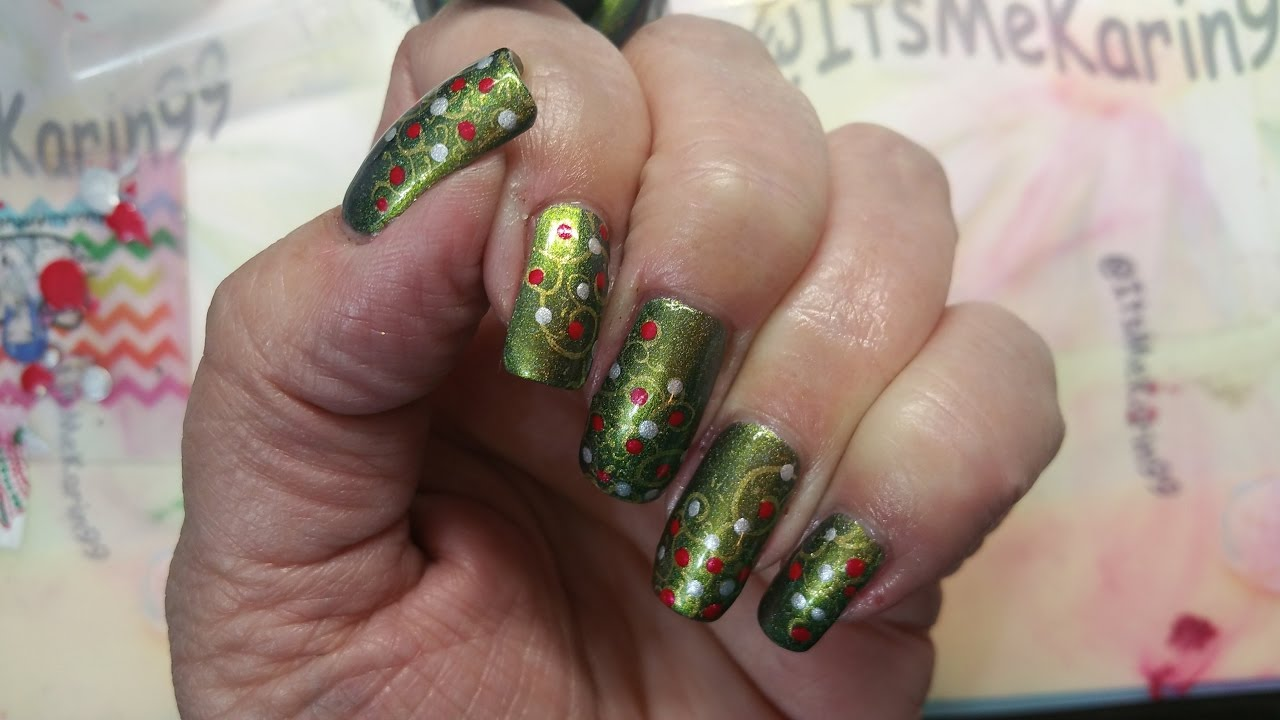 Nail Art Red Green Gold Silver Youtube