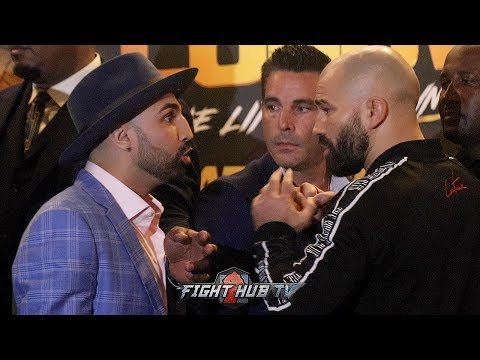 PAULIE MALIGNAGGI SPITS IN ARTEM LOBOV'S FACE  DURING HEATED FACE OFF!