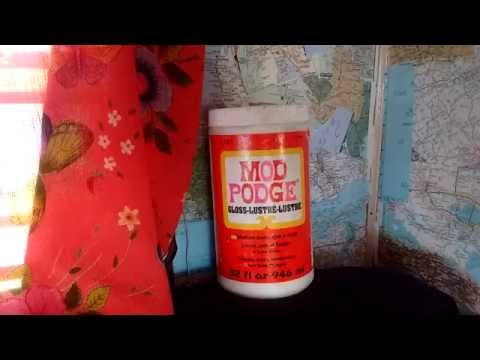 Using Mod Podge with Paper Atlas wallpaper, dress clothing curtains in Van life mobile RV living DIY