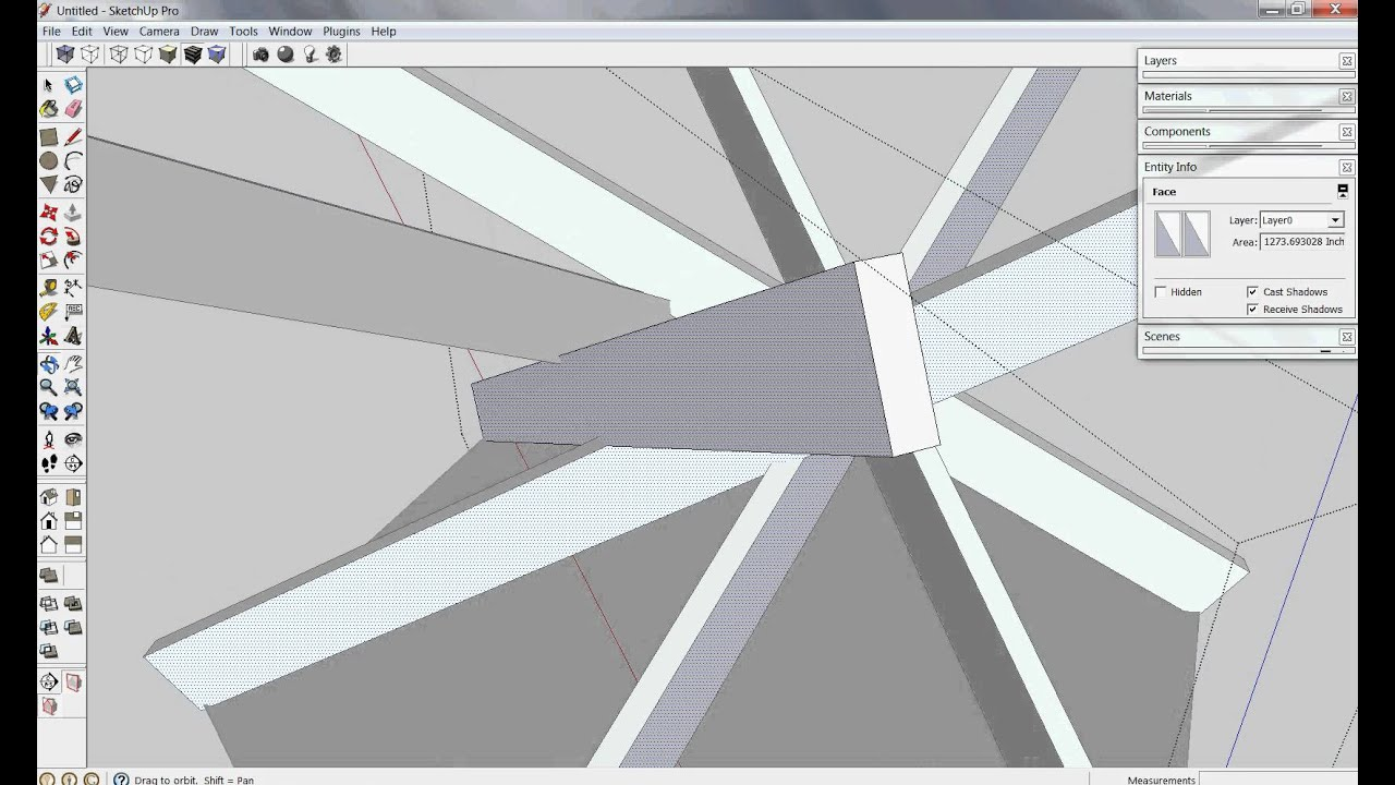 Reciprocal Roof Frame In Sketchup 6 Sided Avi Youtube
