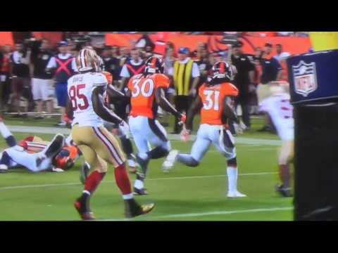 49ers Anquan Boldin late hit on Bronocs Omar Bolden