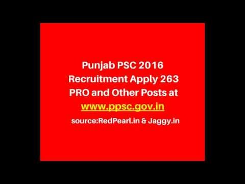 Punjab PSC 2016 Recruitment  | 263 PRO and Other Posts | RedPearl
