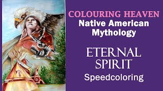 Coloring with acrylic and gouache paints + colored pencils. 'Native American Mythology'