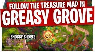 Follow the Treasure Map found in Greasy Grove - FAST & EASY - Fortnite Season 4 Week 5 Challenge