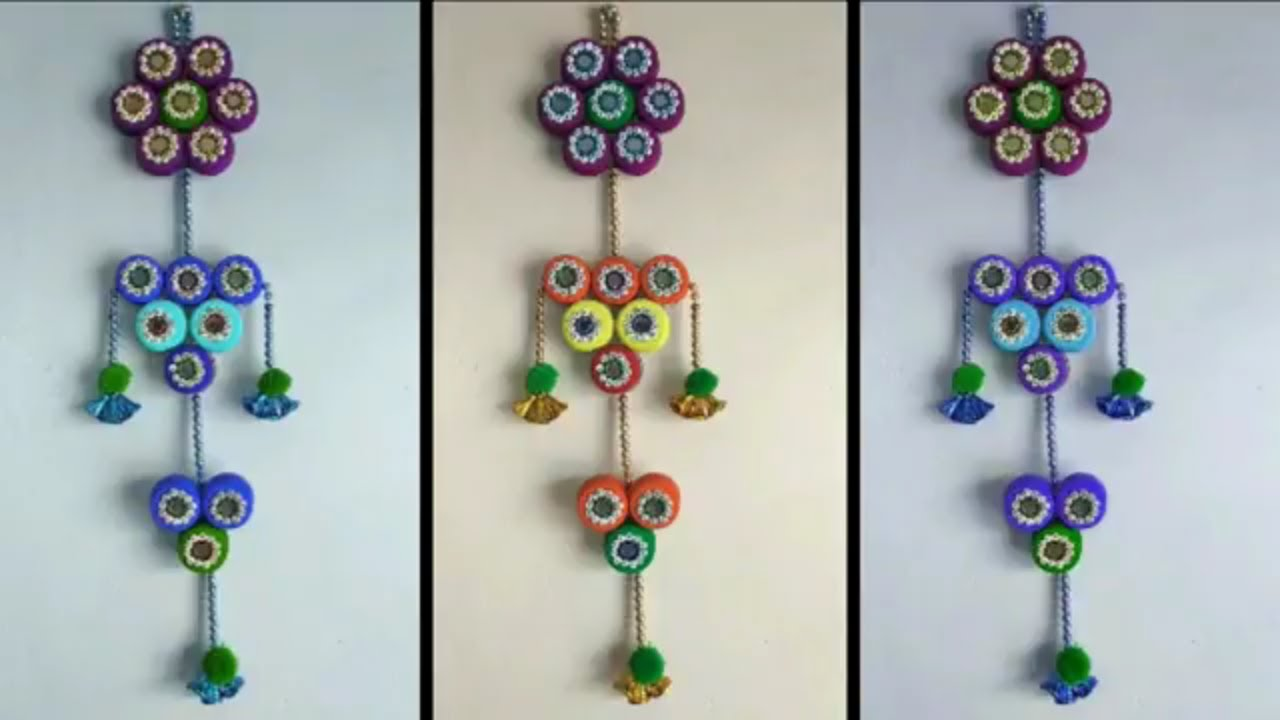 Beautiful Wall Hanging Toran From Plastic Bottle Caps Diy How To Make Craft