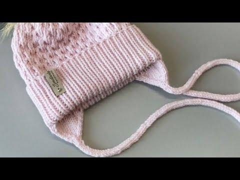 Ушки с завязками для шапки спицами