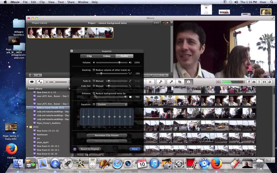 Remove The Background Noise On Audio In Imovie 11 Youtube