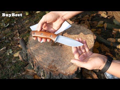 Бюджетный охотничий нож с Алиэкспресс 🔴 ТЕСТ на удержание заточки из коробки.