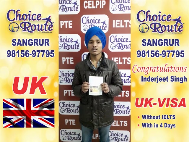Congratulations Inderjeet Singh For UK VISA without IELTS with in 4 Days.