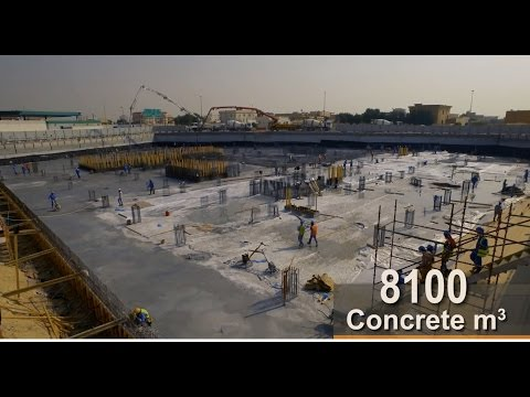Continuous Concrete Pour (8100 M3 concrete) for Aster Hospital Raft Foundation, UAE, Dubai