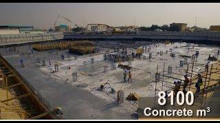 Continuous Concrete Pour (8100 M3 concrete) for Aster Hospital Raft Foundation, UAE, Dubai