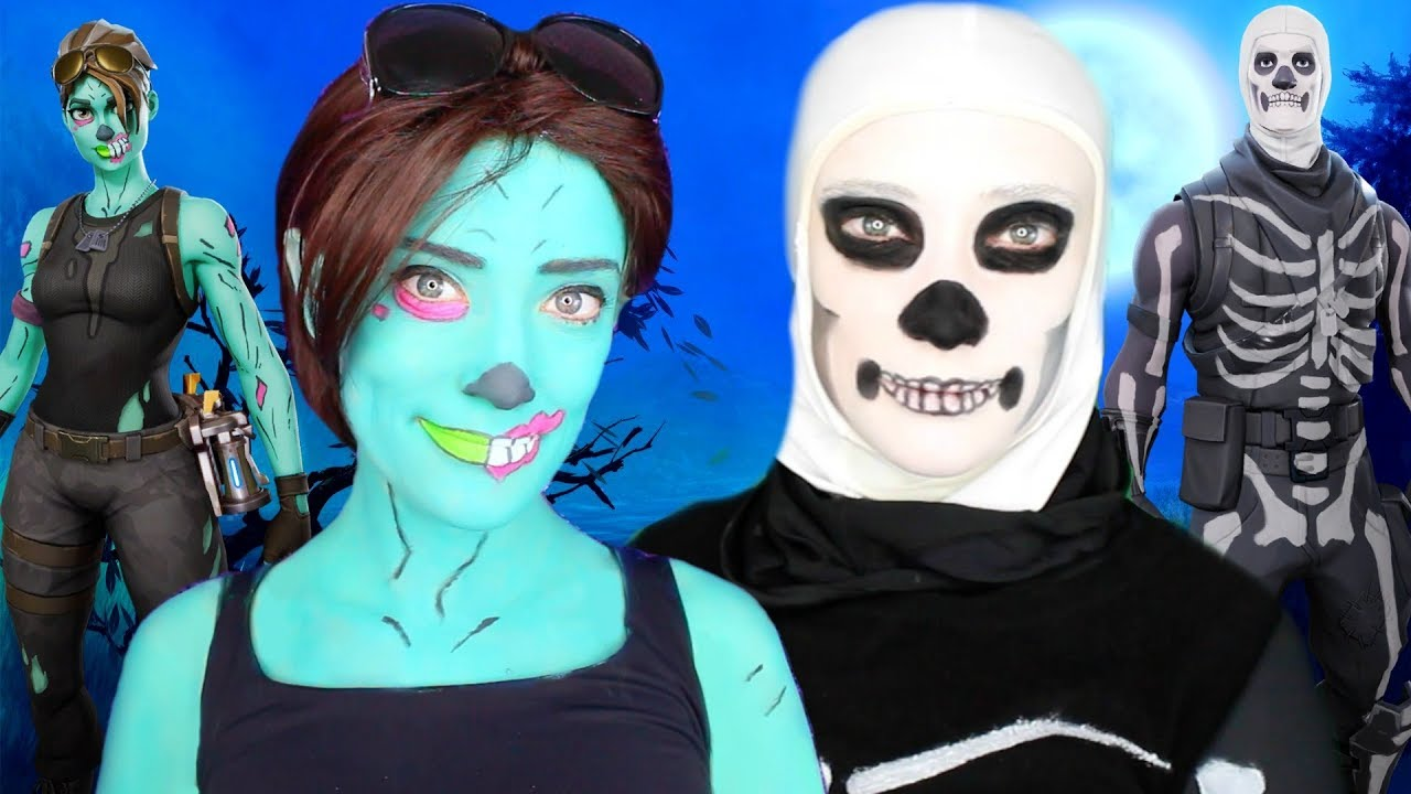 FORTNITE Ghoul Trooper And Skull Trooper Halloween Makeup Tutorial With  Costumes | Fortnite Season 6
