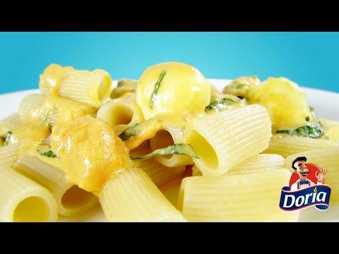 Rigatoni con queso  albahaca