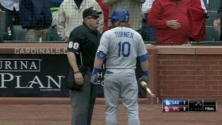 LAD@STL: Turner gets ejected after a strikeout in 9th