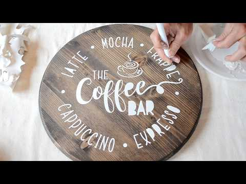 DIY Coffee Station Sign / How to Make a Stenciled Sign