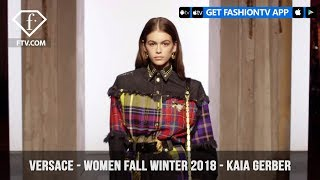 Versace Presents Kaia Gerber in Tartan and Denim Women Fall/Winter 2018 | FashionTV | FTV