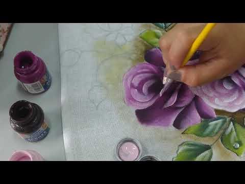 Pinturas em Tecido - Rosa Roxa ( Luz das Pétalas, Botão Fechado, Botão Aberto) #2