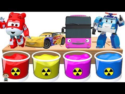 Dye Coloring | Super Wings Dizzy, Car Jeff, Tayo Bus Citu, Robocar Poli | Shower Colors for Kids