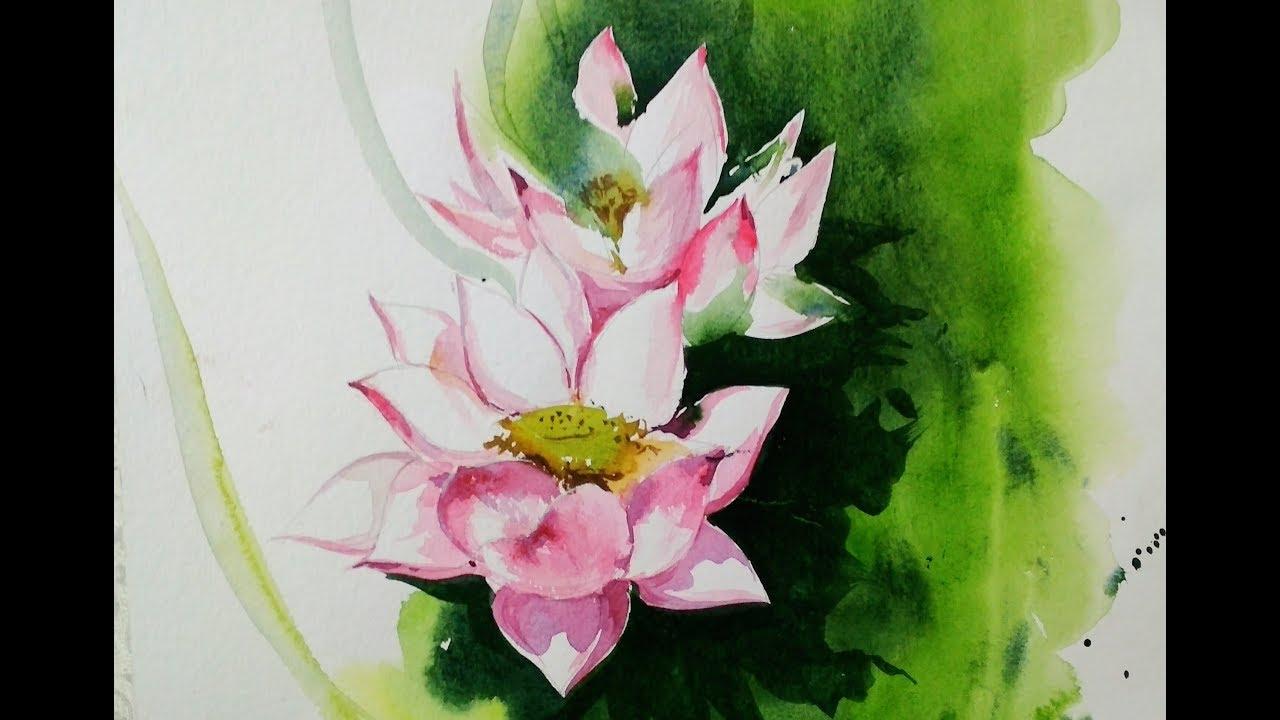 Make Lotus Flower With Watercolour Medium Youtube