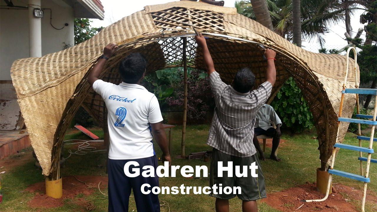 garden hut. Bamboo Garden Hut Construction