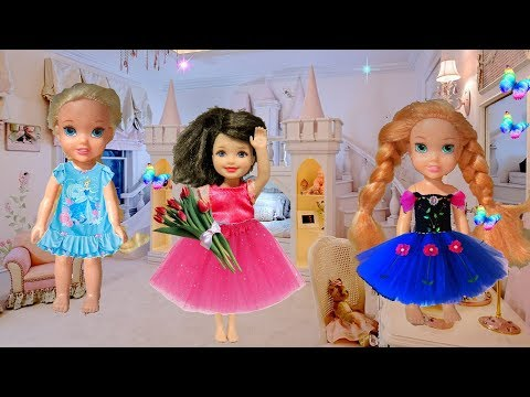 Anna and Elsa Toddlers Ballet! Sleepover at Jessica's House! Chelsea Barbie Toys and Dolls