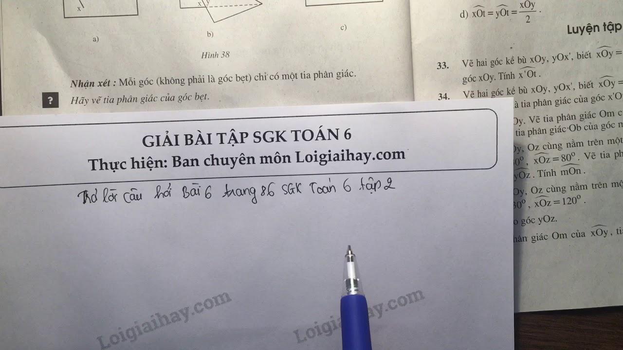 Trả lời câu hỏi bài 6 trang 86 toán 6 tập 2