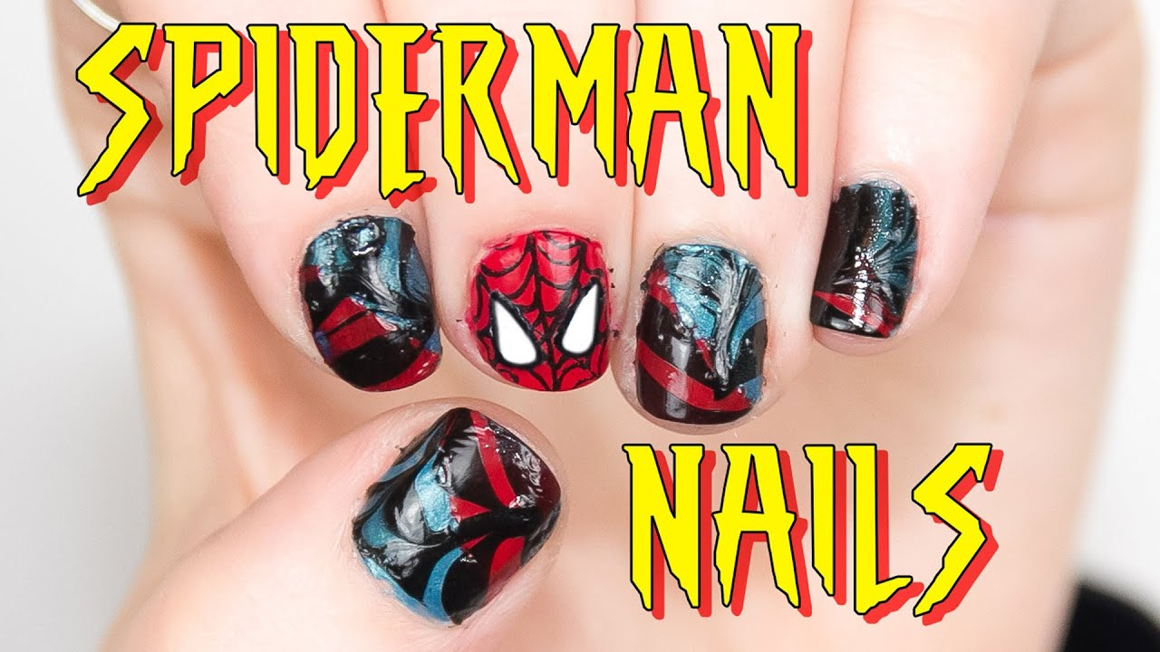 Spiderman nail art tutorial youtube prinsesfo Choice Image