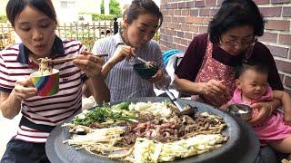 |TẬP15| NẤU LẨU THỊT BÒ BẠCH TUỘC VÀ KIM CHI HÀNH MUKBANG EATING SHOW! 파 김치 와 불낙 전골 만들기!