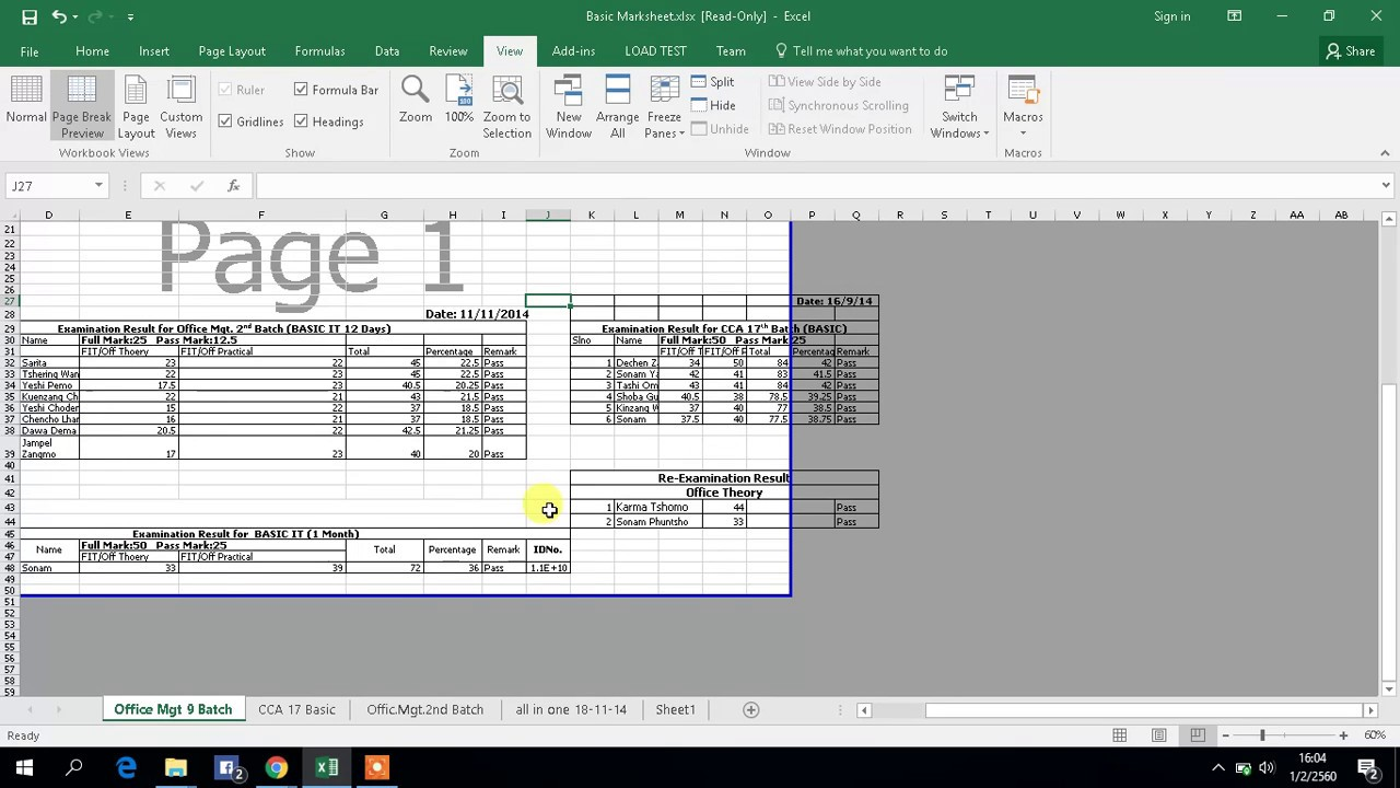 how to print large excel sheet in one page