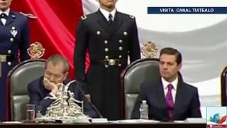 Las caras de Peña Nieto durante discurso de AMLO en la toma de protesta en San Lázaro