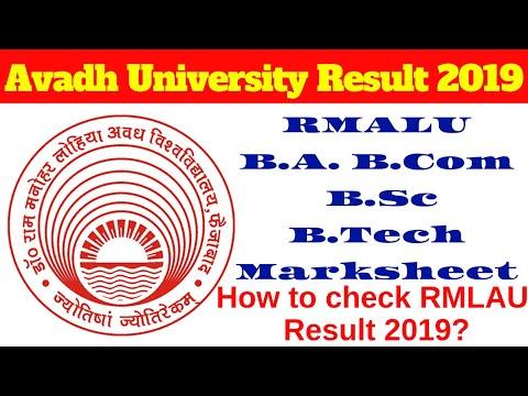 Avadh University Result 2019 RMALU B A  B Com  B Sc B Tech Marksheet