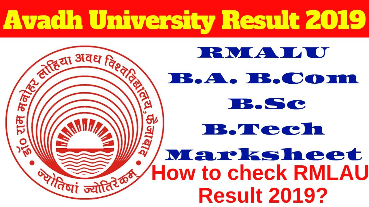 Avadh University Result 2019 RMALU B A  B Com  B Sc B Tech
