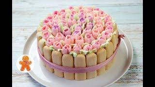 Праздничный Торт 'Корзина с Цветами'  ✧ Cake With Flowers (English Subtitles)