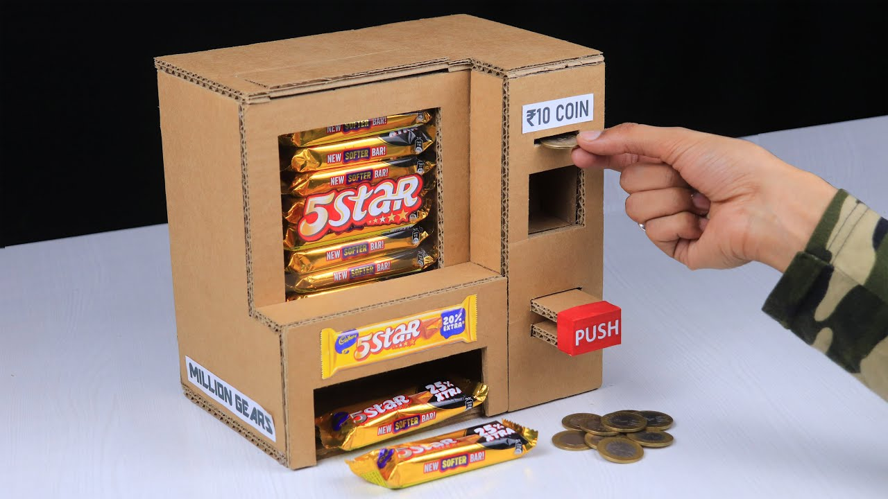 How to Make A Chocolate Vending Machine From Cardboard Without DC Motor