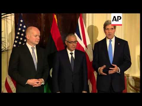 Kerry and Hague meet Libyan Prime Minister Ali Zidan, Kerry comments on militias