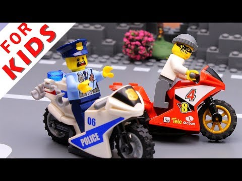 Police car and Motorbike . Lego City Police Chase Animation  video for kids