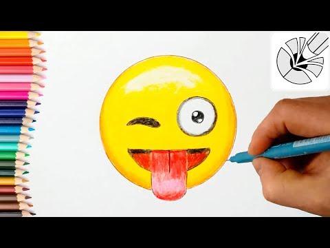 Как нарисовать смайлик с языком