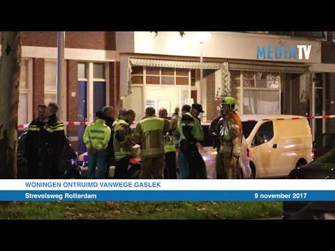 Woningen ontruimd vanwege gaslek Strevelsweg Rotterdam